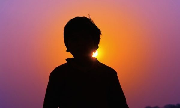 ragazzo, figlio, tramonto, bambino