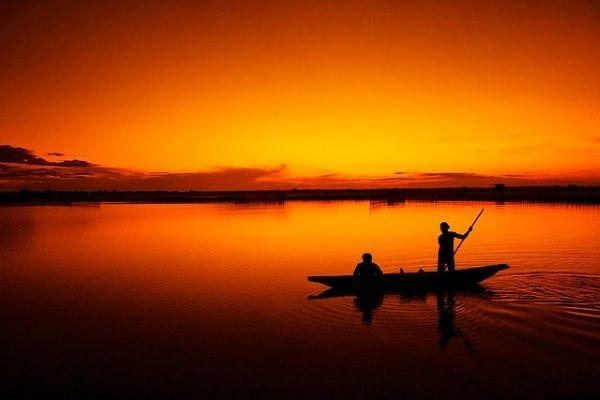 ritorno, tramonto, lago, canoa