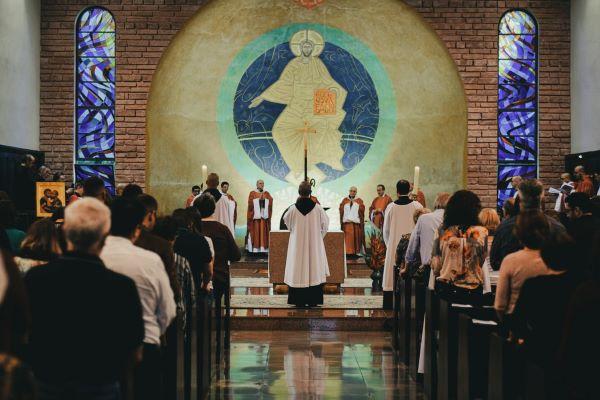 Messa, celebrazione, fedeli, sacerdote, chiesa