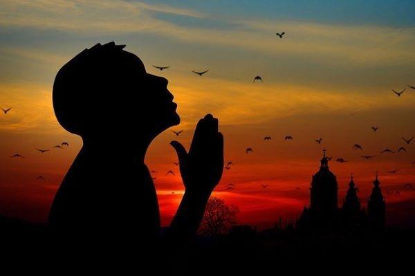 preghiera, bambino, tramonto