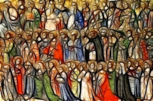 santi, comunione, schiera