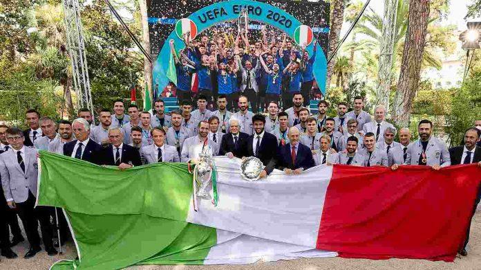 Il presidente della Repubblica Sergio Mattarella incontra la nazionale italiana vincitrice dell'Europeo 2020