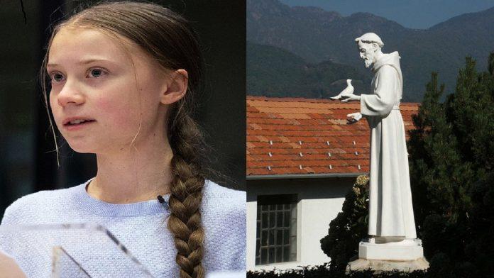 Greta Thunberg / Statua di San Francesco - Santuario di Banchette a Bioglio (provincia di Biella, Piemonte, Italia)